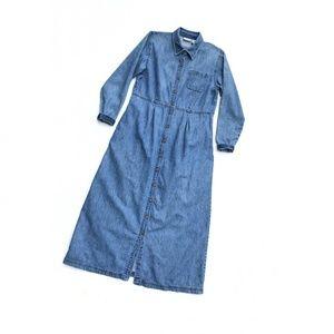 LL Bean Maxi Long Sleeve Blue Denim Dress :220
